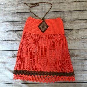 Crochet Halter Neck Orange Top - Boho / Festival
